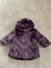 Girls Purple Fur Coat 3-6 Months George