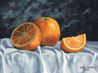 Original Still Life Painting of Oranges - (9 x 12 inch) by John Wallie