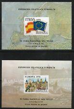 Hoja Recuerdo  1978  Edifil 62 / 63 SIN DENTAR   EXPOSICION FILATELICA EUROPA 78