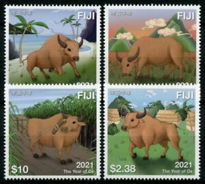 Fiji Year of Ox Stamps 2021 MNH Chinese Lunar New Year Zodiac 4v Set