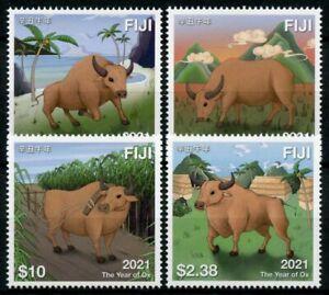 Fiji Year of Ox Stamps 2021 MNH Chinese Lunar New Year Zodiac 4v Set