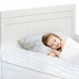 Bed Rails for Toddlers with Non-Slip Bamboo Cover Foam Kids Bed Guard Rail