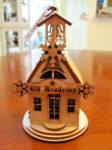 """GINGER COTTAGES CHRISTMAS """"ELF ACADEMY"""" WOOD CRAFTED GLITTER ORNAMENT NEW"""