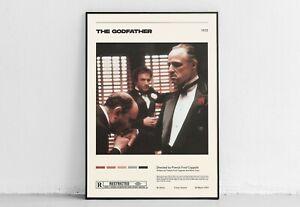 The Godfather  Francis Ford Coppola  Vintage Retro Art Print, Minimalist Movie