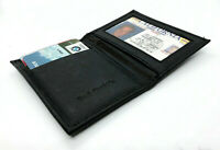 Black Genuine Leather Men's Bifold Wallet Thin Credit Card ID Holder