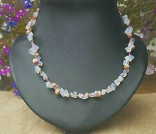 Freedom Tree Moonstone & Cats Eye Gemstone Necklace Hand Woven With  Pink Cord