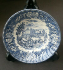 Vintage H. Aynsley & Co. Ironstone Blue & White Hunting Scene Desert Cereal Bowl