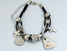 Genuine Braided Leather Charm Bracelet With Name - NADINE - Gifts for her