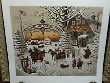 CHRISTMAS GREETING BY CHARLES WYSOCKI S/N PRINT MINT  1989 SNOW SLEIGH HOLIDAY