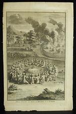 Gravure originale XVIIIe 1721 Floride Indian History América USA Bernard Picart