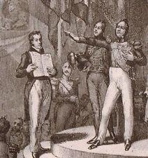 Gravure XIXe Serment de Louis Philippe Roi de France Restauration Monachie