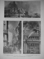 ARTICLE PRESSE 1921 INCENDIE NOUVEAUX MAGASINS DU PRINTEMPS LUTTE CONTRE LE FEU