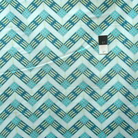 Zandra Rhodes Feathered PWZR016 Zig Zag Teal Cotton Fabric By Yd