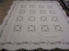 Pretty Cream Whole Cloth w/Embroidered Flowers & Frame Quilt