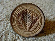 Wooden Butter Mold Press Stamp Hand Carved Pine Branch Vintage Antique Primitive