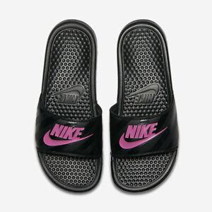 nwt Nike Benassi JDI Slides Women's Size 7 8 9 10 slide 343881-061 Black Pink