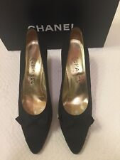 CHANEL Black Satin Bow Mary Jane High Heel Shoes - Size 8.5 VINTAGE