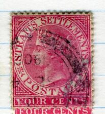 STRAITS SETTLEMENTS;  1882 early classic QV issue fine used 4c. value