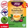 3 x VALUE PACK 16 Yogi Green Tea w/ Kombucha - Total 48 Herbal Tea Bags - Vegan