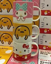 2016 NEW Sanrio 3 large MY MELODY GUDETAMA HELLO KITTY stackable mugs cups!