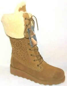 NEW BEARPAW KYLIE HICKORY SUEDE PERF WINTER BOOTS 8 M