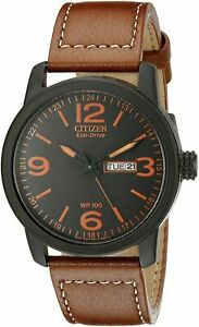 Citizen Men's Eco-Drive Black Dial Brown Leather Watch - BM8475-26E NEW