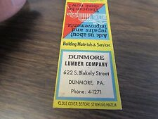DUNMORE PA - DUNMORE LUMBER COMPANY  - MATCHBOOK COVER