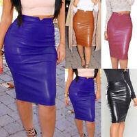 Women High Waist PU Leather Bodycon Midi Dress Ladies Evening Party Pencil Skirt