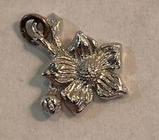 "Sterling Silver Dogwood British Columbia Official Flower Bracelet Charm 1/2"""