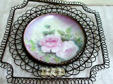 Vintage Wall Art Decorative Plate in Openwork Metal Frame