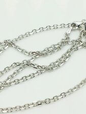 "14k Solid White Gold High Polish Cable Link Pendant Necklace Chain 18"" 2.3mm"
