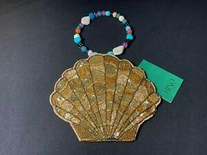 Chelsea Designer Sale RIXO SACHA - GOLD EMBELLISHED Pouch Bag RRP £325.00