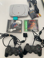 Sony Playstation PS1 w Cords, Controllers +Games