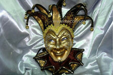 Mens Venetian Fabric Embroidery Masquerade Theater Jester Mask [Gold/Black]