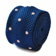 Knitted Skinny Navy Blue & Powder Pink Spot Mens Tie by Frederick Thomas FT1892