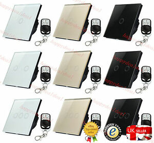Crystal Glass 1/2/3 Gang 1 Way Panel Touch Remote Controller LED Light Switch