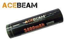 New AceBeam 18650 3400mAh 3.6V Protected Button Top Cell Rechargeable Battery