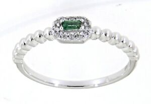 0.05CT Emerald Gemstone 14K White Gold Real Diamond Delicate Simple Ring Jewelry