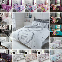 Floral Duvet Cover with Pillowcase Polycotton Quilt Bedding Set Double King Size