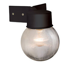 Endon Ware ribbed globe outdoor wall light IP44 40W Black & ribbed clear pc