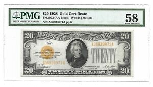 1928 $20 GOLD CERTIFICATE, PMG CHOICE ABOUT UNCIRCULATED 58 BANKNOTE