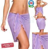 Coqueta Canga Short Sarong Wrap Cover up Pareo Bathing Suit Chiffon PastelPurple