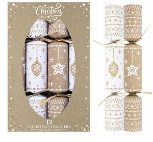 """Set Of 12 Large 12"""" Christmas Crackers Eco Friendly Baubles & Star Cracker"""