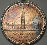 1939 CANADA 1 ONE DOLLAR SILVER TONED BU GEM UNC MONSTER COLOR (DR)