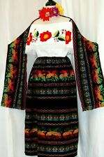 5 de Mayo Mexican Black Maxi Dress 3 pc Floral Embroidery Blouse/Skirt/Shawl 2X