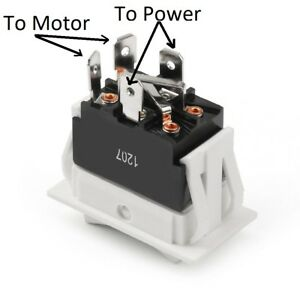 Motor Reversing Rocker Switch, Momentary both side, (ON) OFF (ON)