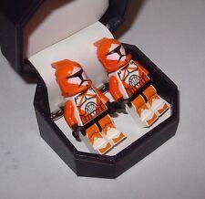 Hand Made Star War Clone Bomb Squad Trooper Lego Cufflinks Beautiful Jewelry Box