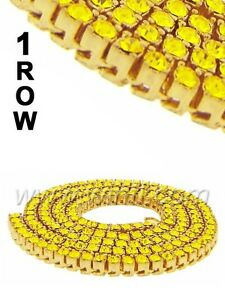 "Men's Women's New Yellow Gold Finish Yellow Diamond Simulate Chain Necklace 30"""