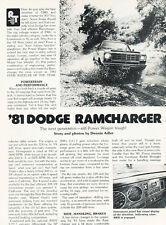 1981 Dodge Ramcharger - Road Test Classic Truck Original Print Article J107