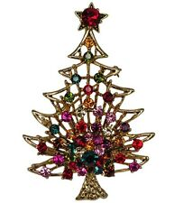 RUCINNI X'mas Tree Brooch, Antique Gold plated and Swarovski Crystals